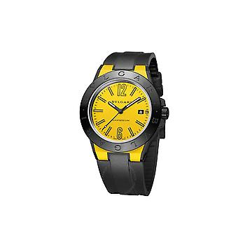 Bvlgari Diagono Magnesium Yellow Dial Black Ceramic 41mm Men's Watch 102762