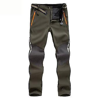 Reflective Men's Winter Hiking Pants, Warm Fleece, Softshell Trousers, Outdoor