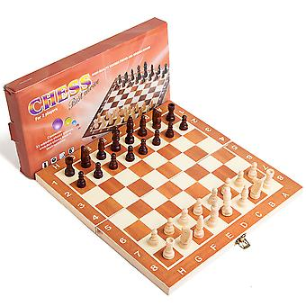 Wooden Plaid 30*30cm Chess Portable Plastic Folding Board With Magnetic Chess Game Mini Chess Set Puzzle Playset