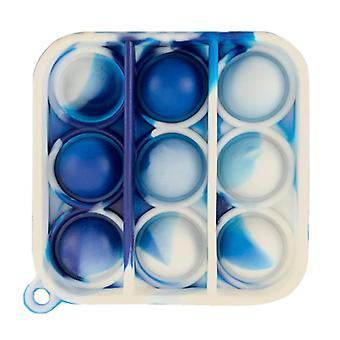الاشياء المعتمدة ® البوب سلسلة المفاتيح -- تململ مكافحة الإجهاد لعبة لعبة سيليكون مربع الأزرق والأبيض