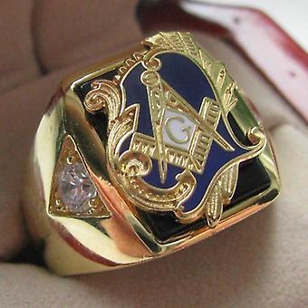 Zirconia motivo deluxe anillo de cobre masónico azul