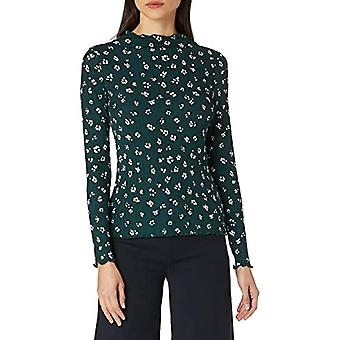 TOM SKRÄDDARE Denim Langarm T-Shirt, 25367-Grön Beige Flower Print, XL Kvinnor