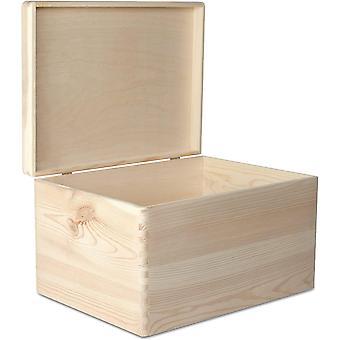 FengChun XXL große Holzkiste Lagerung Brust Holz   40 x 30 x 24 cm (+/- 1 cm)   Plain Andenken mit
