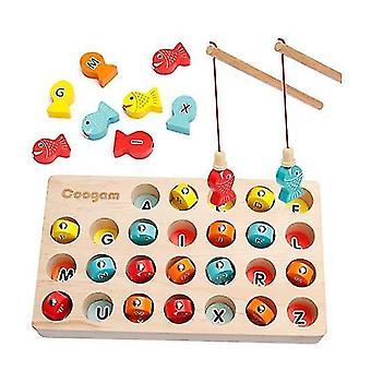 Holz magnetische Angeln Gamefine Motor Fähigkeit Spielzeug abc Alphabet Farbe Sortieren Puzzle x1032