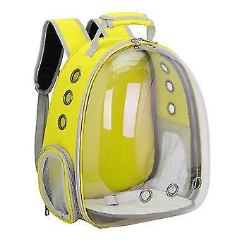 Cat Carrier Backpack,Space Capsule Knapsack Pet Travel Bag Waterproof Breathable(Yellow)