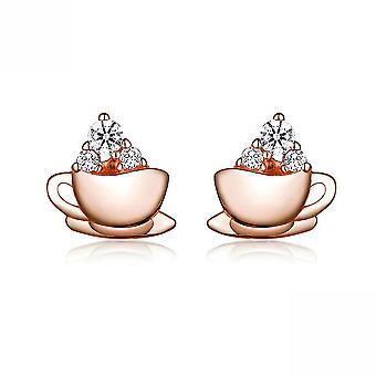 Korvanastat Iltapäiväkahvi Kuppi S925 Ruusukultaiset korvakorut päivittäiseen käyttöön