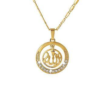 Women Necklace Round Golden Alloy Rhinestone Diamond Pendant For Birthday Gift