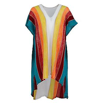Rainbow Stripe nyári bikini cover up kötött strandruházat Kaftan