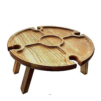 Wooden Outdoor Folding Picnic Table With Glass Holder Round Foldable Desk Wine Glass Rack