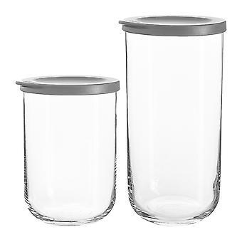 8 piezas Duo Glass Storage Jars Set Stackable Container Silicone Lid 2 Tamaños Gris
