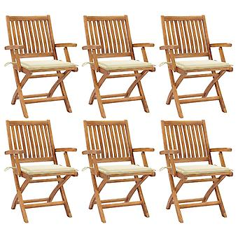 vidaXL Foldable garden chairs with cushions 6 pcs. solid wood teak