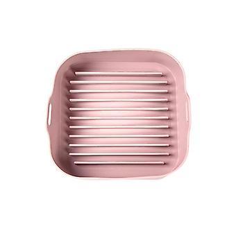 Multifunctional Airfryer Pot Air Fryers Pans Steamer Liners Oven Tools Baking Tools(pink)