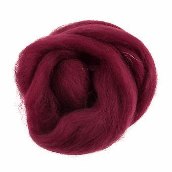 Naturlig roving ull egnet for nålefilting - 10g - Vinrød