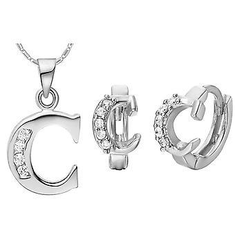 (C)  Alphabet Rhinestone Womens 26 Initial Letter Huggie Earrings Necklace Jewelry Set Silver