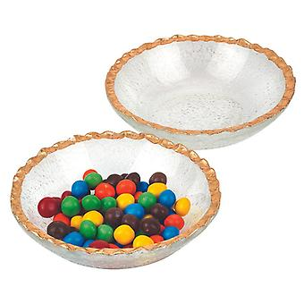 """Set of Two 6"""" Bubble Glass Bowls With Scalloped Gold Rims"""