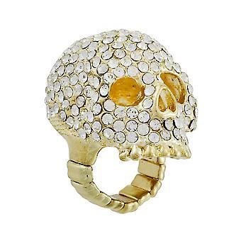 Funklende guld Tone Rhinestone Encrusted Stretch Ring