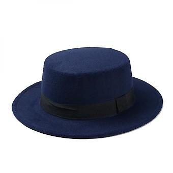 Ny Fashion Wool Pork Pie Boater Flad Top Hat For Filt Navy Blue
