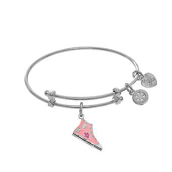 High Top Pink Enamel Shoe Charm Adjustable Bangle Girls Bracelet