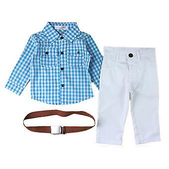 Kid Boy Plaid Long Sleeve Shirt Pants Belt Set Clothes Gentleman Outfit