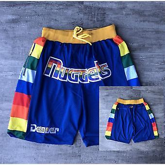Men's Denver Nuggets Just Don Blue Basketball Shorts Casual Outdoor Sports Sandbeach Pants Size S-xxl