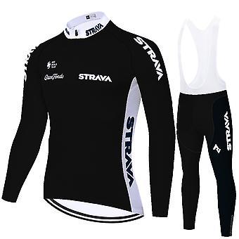 Strava Men's Long Sleeve Mtb Jersey Road Bike Suspender Pants Gel Pro Cycling Clothing Set - Black