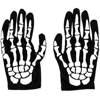 Skelett Handschuhe Halloween Kostüm Party Cosplay Handschuhe Full Finger Mumie Geisterhandschuhe (Weiß)