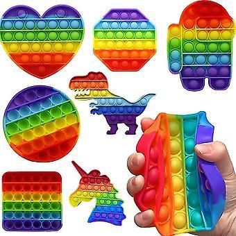 7st Ångest Relief Leksaker Set Dinosarau Love Heart Push Pop Bubble Barn Fidget Leksak