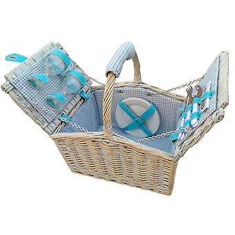 2 Person Farmhouse Fitted Blue Checked Lined Hamper
