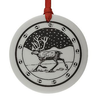 Totem caribú hecha a mano redonda porcelana forma Navidad / recuerdo
