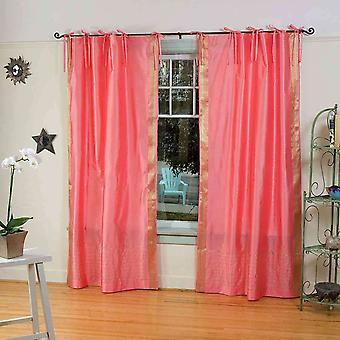 Pink  Tie Top  Sheer Sari Curtain / Drape / Panel  - Piece