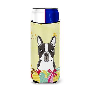 Boston Terrier Easter Egg Hunt Michelob Ultra beverage Insulator for slim cans