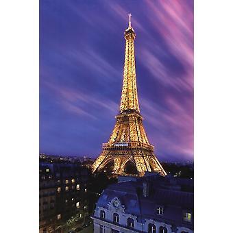 Eiffelturm in der Abenddämmerung Plakat Poster drucken