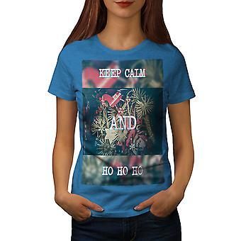 Keep Calm Gift Women Royal BlueT-shirt | Wellcoda