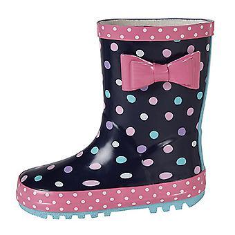 Stormwells Girls Bow Trim Waterproof Wellington Boots