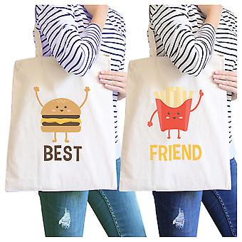 Hamburger And Fries BFF Matching Canvas Bags Natural Heavy Cotton