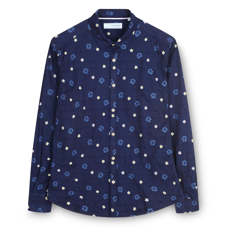 Fabio Giovanni Roberti Shirt - hochwertige Luxus klassischen floralen Jeanshemd - Marine italienische Chambray-Baumwolle