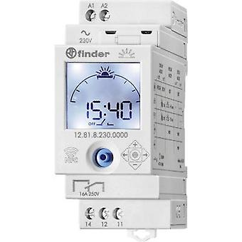 DIN rail mount timer Operating spanning: 230 V AC Finder 12.81.8.230.0000 1 wisselcontact 16 A 250 V AC astronomische