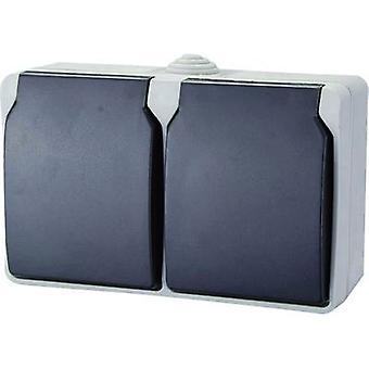 GAO 9872 natte kamer switch product range Twin socket standaard grijs