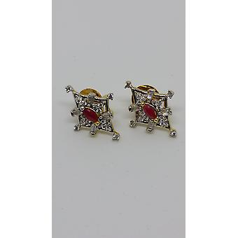 Plaqué or précieux joyaux Diamond Style Earrings