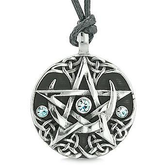 Amulette Pentacle magique Super Star Defense celtique cristaux bleus Pentagram réglable Collier pendentif