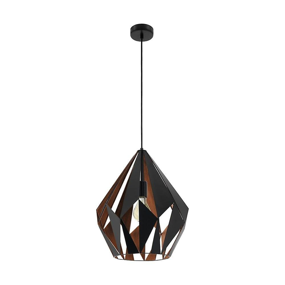 Topnotch Eglo Carlton geometriske svart og kobber rustikke anheng lampe WR-82