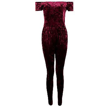 Damerna krossade sammet Velour Off Shoulder Stretch Bardot oformaterad Party Jumpsuit