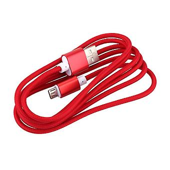Stuff Certified ® USB 2.0 - Micro-USB Charging Cable Braided Nylon Charging Data Cable Data Android 1.5 Meter Red