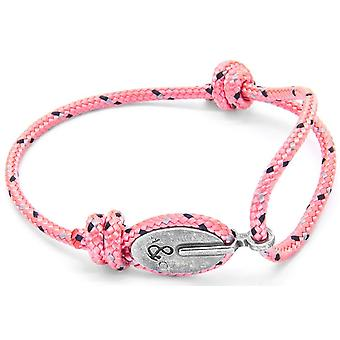 Âncora e tripulação Londres prata e pulseira de corda - Pink