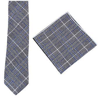 Ensemble de Knightsbridge Neckwear Prince of Wales Check cravate et mouchoir de poche - bleu/gris