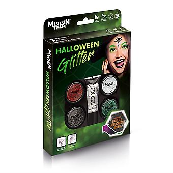 Moon Terror - Halloween Glitter Shaker makeup for the Face & Body - 5g - Easily add sparkles to your horror looks like a pro! Perfect for vampire, ghost, skeleton, witch, pumpkin, monster etc - Gift Set