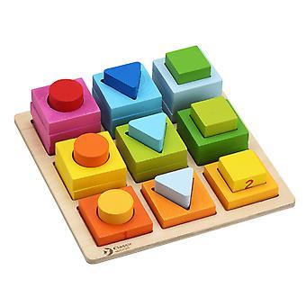 Mundo clássico - quebra-cabeça geométrico do teste padrão de woodem, classificando e empilhando blocos, aprendizagem do classificador da forma