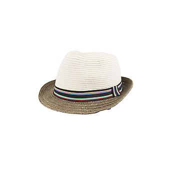 Lovemystyle Two Tone Fedora Hat With Colourful Band