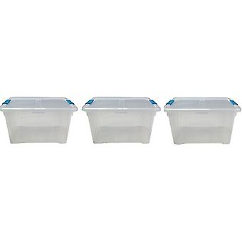 3 x 32 Litre Storage Box And Lid With Clips Storage Furniture