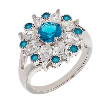 Bertha Juliet Collection Women's 18k WG Plated Light Blue Floral Statement Fashion Ring Size 9